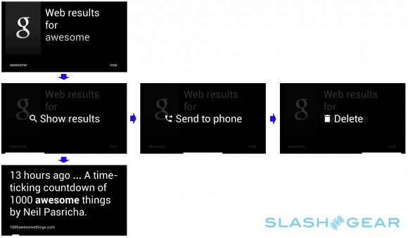 google glass ui web results, send to phone, delete