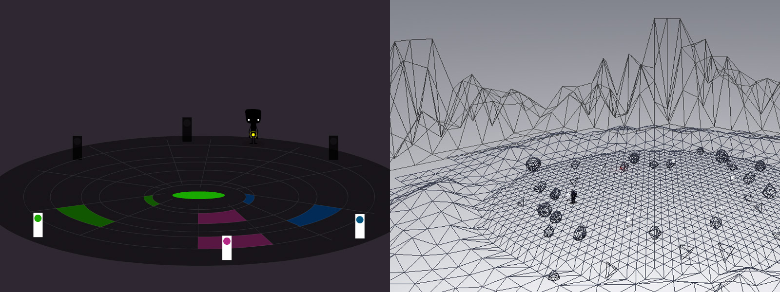 Sketches of the concept and the 3D scene