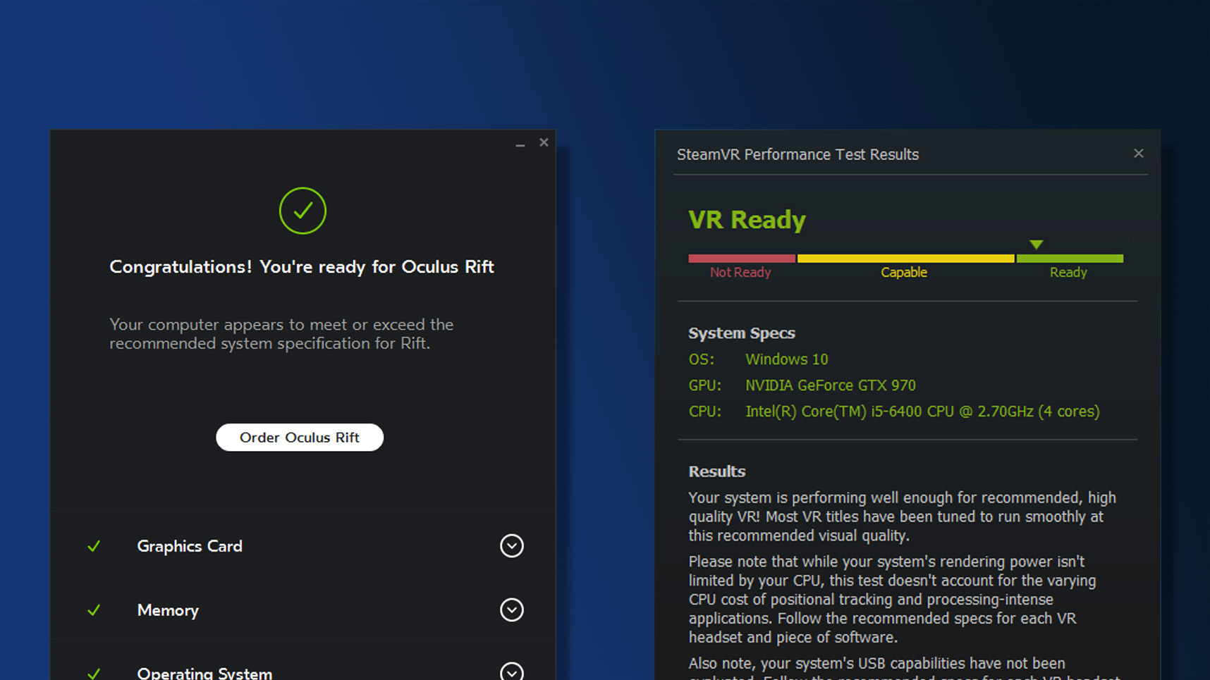 Check if Your PC is VR Ready for Oculus Rift, HTC Vive, and