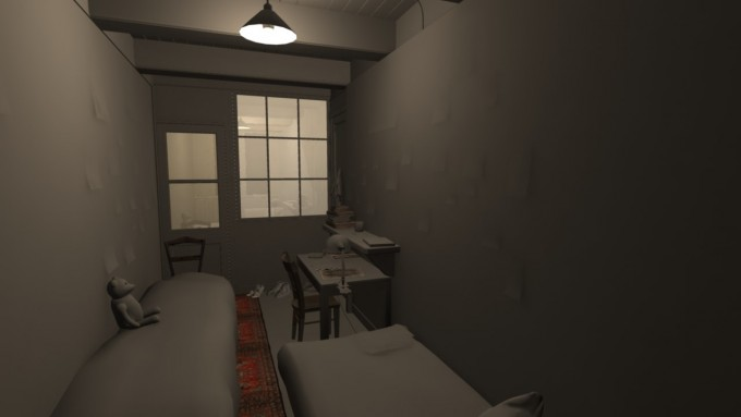 """Early design render of Anne Frank's room, one of 7 rooms in the """"secret annex"""" in which she  and 7 others hid for two years (July 5th,1942  - August 4, 1944). It includes her bed (with the  Teddy Bear) on the left, the door and windows leading to the shared bathroom, the desk at  which she wrote her diary, the diary itself sitting on the desk, and the bed for Albert Dussel,  another """"annex"""" member."""