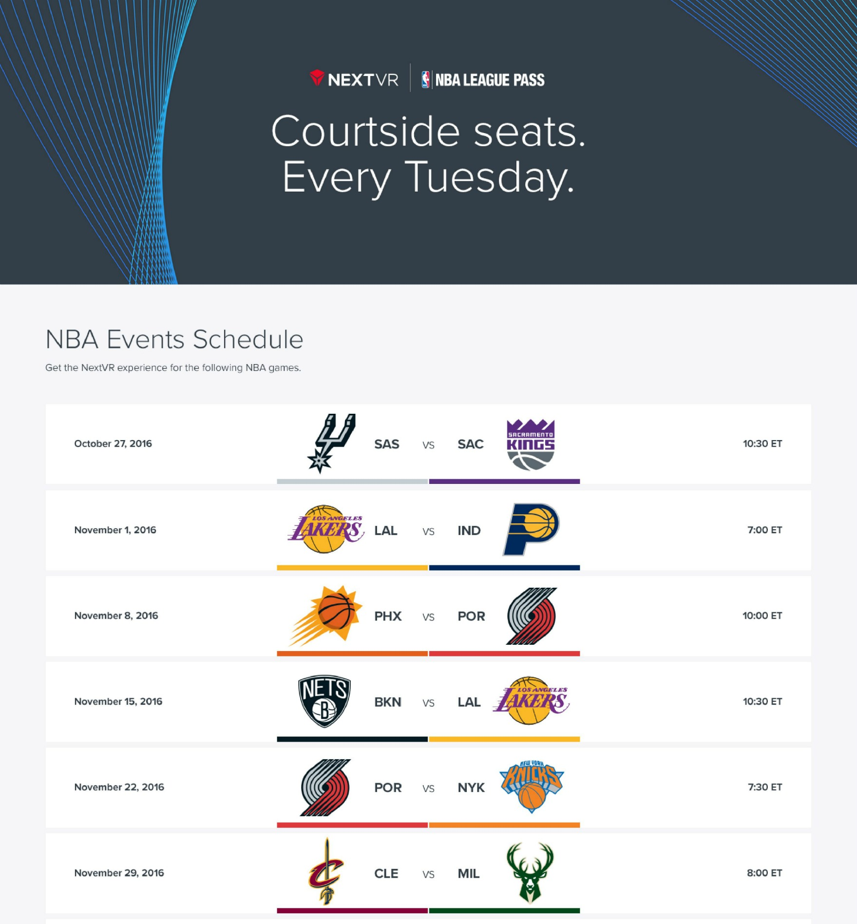 NextVR to Broadcast Over 20 Live NBA Games This Season, Coverage Starts Tonight