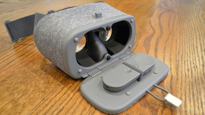 The Daydream controller stows neatly inside the unused headset so it's always with you