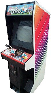 An original Paperboy arcade cab, complete with handlebars.