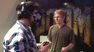 John Carmack demo'ing an early Rift Prototype. Image courtesy t3.com