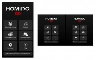 homido virtual reality smartphone app side by side menu