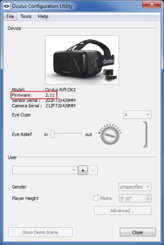 oculus rift dk2 firmware