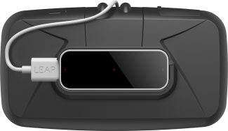 The Leap Motion sensor attached using the dedicated mount